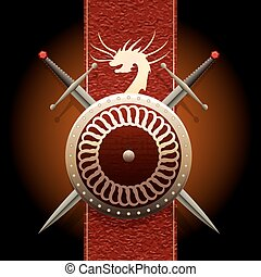 The Dragon shield - Shield woth swords against medieval...