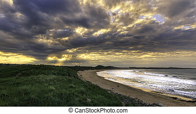 Northumberland coast - Sunset on the Northumberland coast,...
