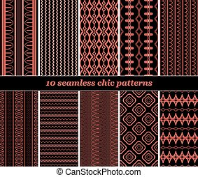 10 seamless chic patterns in black and red colors - Set of...