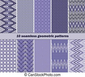 10 seamless geometric patterns in violet color - Set of 10...
