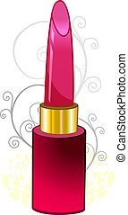 Lipstick - Illustration of red lipstick and floral...