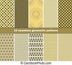 10 seamless geometric patterns in olive green and yellow...