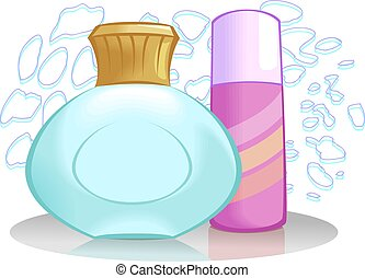 Body care - Illustration of a body lotion tube and powder