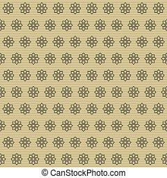Seamless pattern of carved flowers on striped background -...