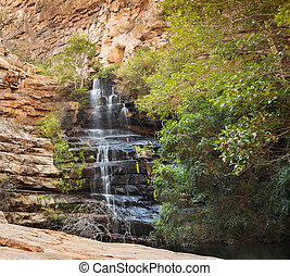 Moremi Gorge Waterfall Botswana - Waterfall in Moremi Gorge,...