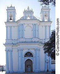 blue church San Cristobal de las Casas Chiapas Mexico