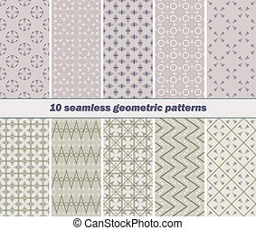 10 seamless abstract geometric patterns of striped vanes...