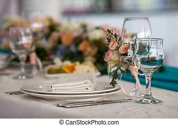 Elegance table set up for wedding