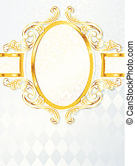 Vertical rococo wedding banner - Elegant white and gold...