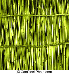 A wooden background with vertical reeds - A wooden...