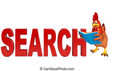 cute Hen cartoon character with books and search sign - 3d...