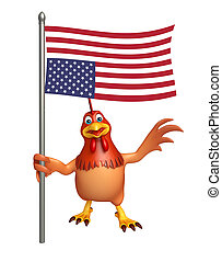 Hen cartoon character with flag