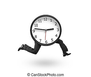 Clock with human legs running, isolated on white background