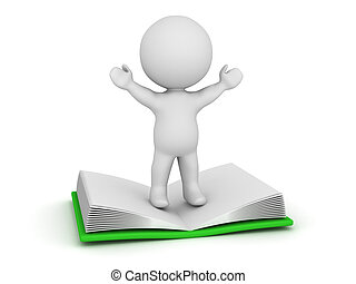 3D Character Standing with Arms Raised on Large Open Book -...