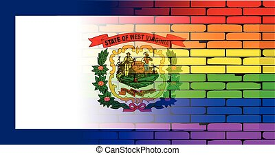 Rainbow Wall West Virginia - A well worn wall painted with a...