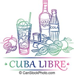 Cocktail_Cuba Libre with ingredients