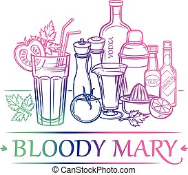 Cocktail Bloody Mary with ingredients ( vodka, tomato juice,...
