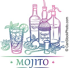 Cocktail Mojito with ingredients White rum, sugar syrup,...
