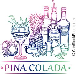 Cocktail Pina Colada with ingredients ( white and black rum,...