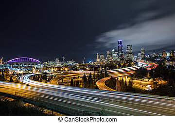 Downtown Seattle skyline at night - A classic view of...