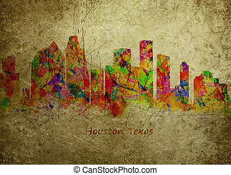 Houston Texas - Watercolor art print of the Skyline of...