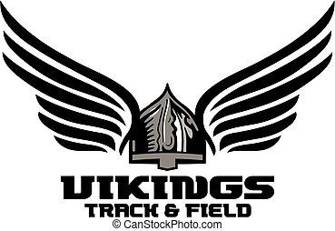 vikings track and field team design with winged helmet for...