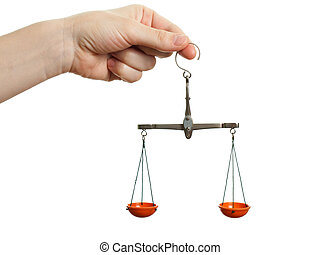 Weight scale - Women hand holding balance measuring weight...