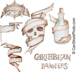 Watercolor caribbean banners - Old antique banners. Vector...