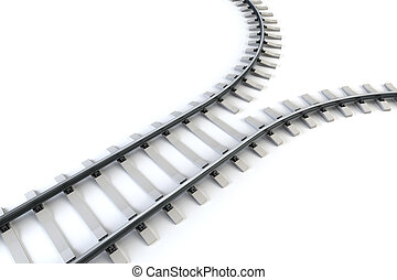 diverging railway isolated 3d rendering