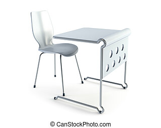 modern chair and table. Isolated 3d rendering