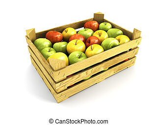 wooden crate full of apples Isolated 3d rendering