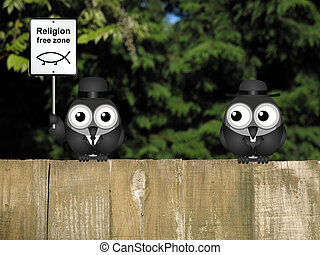 Religion Free Zone - Comical religion free zone sign with...