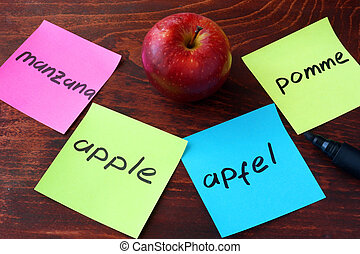 Language translation concept. - Apple written on papers on a...