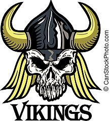 vikings mascot team design with skull for school, college or...