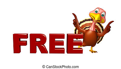 fun Turkey cartoon character with free sign - 3d rendered...