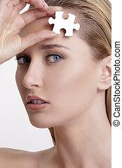 概念, 難題, 年輕, 在這裡, 臉, 健康, 皮膚, 模型