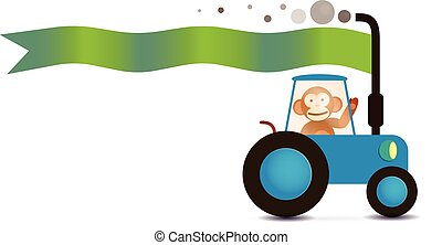monkey farmer on the tracktor with text flag - monkey farmer...