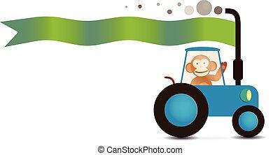 monkey farmer on the tracktor with text flag - monkey farmer...