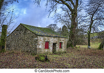 Yorkshire Dales - Ruin in the Yorkshire Dales National Park,...
