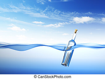 Message in a Bottle. 3d rendering