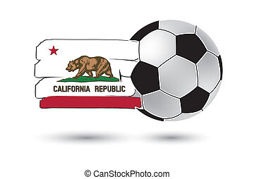 Soccer ball and California State Flag with colored hand...