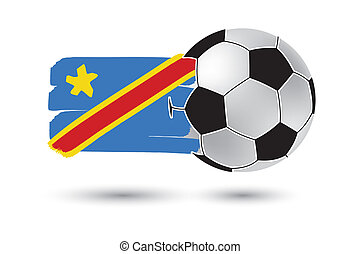 Soccer ball and Democratic Republic of the Congo Flag with colored hand drawn lines