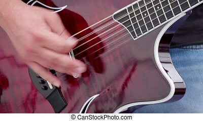 playing guitar solo on air - guitarist playing guitar solo...