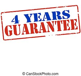 Four years guarantee - Rubber stamp with text four years...