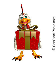 Hen cartoon character with giftbox - 3d rendered...