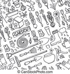 Spring garden doodlesColored seamless patternLinear - Spring...