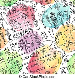 Spring garden doodlesSeamless patternWatercolor splashes -...