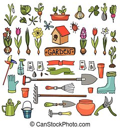 Spring garden doodles.Colored flowers,bulbs,plants,tools -...