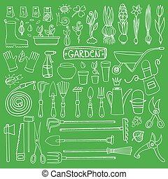 Spring garden doodle setTools,plantsGreen - Spring garden...