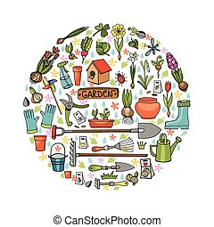 Spring garden doodles in circleColored flowers,plants,tools...